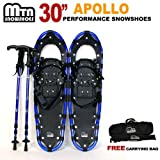 """New 2013 MTN Man Woman Kid Youth 30"""" BLUE Snowshoes with BLUE Nordic Walking Pole Free Bag"""