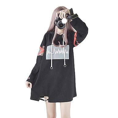 Größe 40 6c0dc e0143 Himifashion Frauen Hoodies Harajuku Schwarz Lange Hoodie Kleid Baumwolle  für Damen