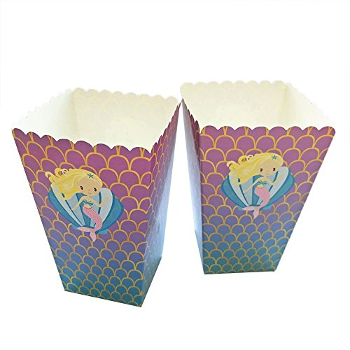 (Popcorn Box Pack (12 packs)-Mermaid Theme Party Decoration Set Perfect for Gifts, Baking,Birthday Themed Parties, Movie Nights and carnivals)