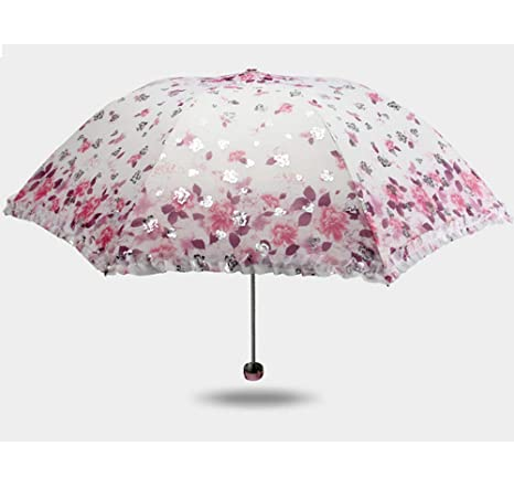 ca5c8dcada28 Anti-UV Sun Umbrella Triple Folding uv Protected Parasol Travel Umbrella  Compact Windproof Rainstoppers Cute Creative Flower Design Vintage Lace ...