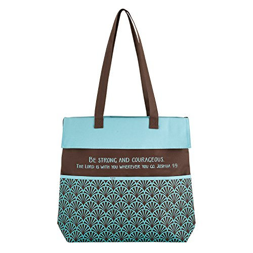 Be Strong Fan Scales Blue Brown 13.5 x 14 Inch Heavy Canvas Inspirational Tote Bag
