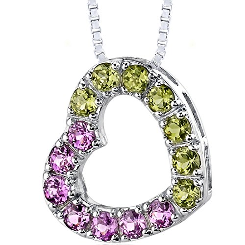 - Created Pink Sapphire and Peridot Open Heart Pendant Necklace Sterling Silver
