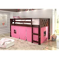 DONCO KIDS Circle Cappuccino Low Loft with Pink Tent, Twin
