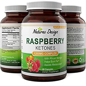 Blend Of Raspberry Ketones, Green Tea Extract And African Mango - Lose Weight Faster - Natural Ingredients To Speed Up Weight Loss, Suppress Appetite & Burn Fat - 60 Capsules By Natures Design by Natures Design