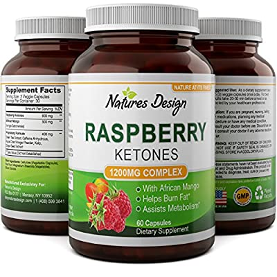 Blend Of Raspberry Ketones, Green Tea Extract And African Mango - Lose Weight Faster - Natural Ingredients To Speed Up Weight Loss, Suppress Appetite & Burn Fat - 60 Capsules By Natures Design