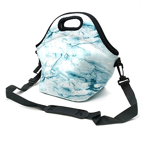 Neoprene Lunch Tote ,Insulated Waterproof Lunch Bags For Men, Women, Adults, Kids, Girls. Reusable, Washable, Water-proof Foldable, Light, Zipper (LIGHT BLUE)