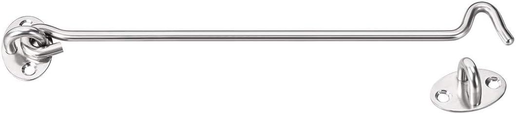 uxcell 10 inches Cabin Hook Eye Latch Gate Door Swivel Window Door Hook Stainless Steel with Mounting Screws 4pcs