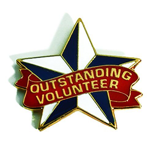 Outstanding Volunteer Star-Shaped Appreciation Award Lapel Pins, 12 Pins (Volunteer Pins Award)
