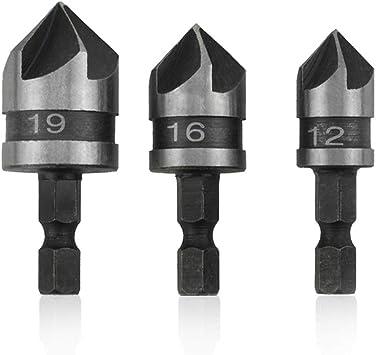 "3pc 1//4/"" Hex 12mm 16mm 19mm Countersink Bore Set for Wood Metal Quick Change Bit"
