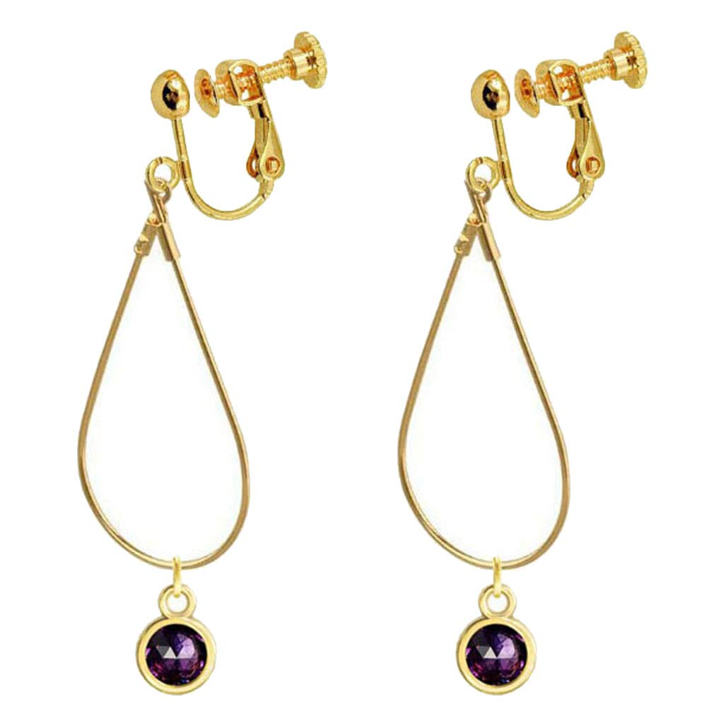 Birthstone Clip on Earrings for Girls Crystal February Oval Drop Earring