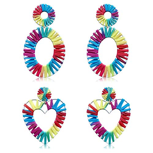 Women's Colorful Statement Earrings Handmade Rattan Bohemian Fashion Drop Earrings Set Hawaiian Jewelry (Love Oval style 2 pairs) ()