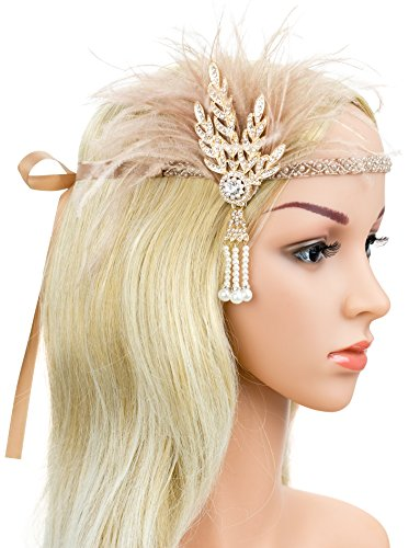 Gatsby Feather Headpiece Flapper Leaf Pearl Headband Roaring 20s Wedding Headpiece (Nude Pink)