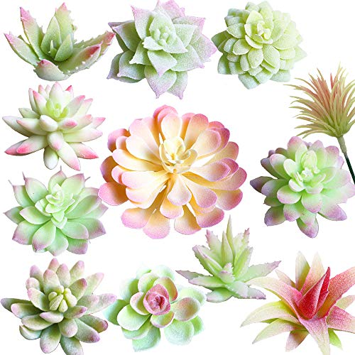 Aisamco 12 Pcs Artificial Succulent Picks Unpotted Faux Succulent Assortment in Flocked Pink White Faux Succulent Floral Arrangement Accent