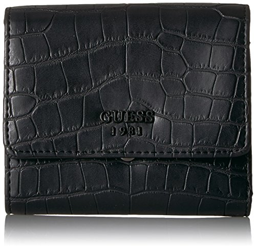GUESS Women's Keaton Croco Small Trifold, Black, One ()