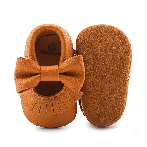 Delebao Infant Toddler Baby Soft Sole Tassel Bowknot Moccasinss Crib Shoes (3-6 Months, Coffee)