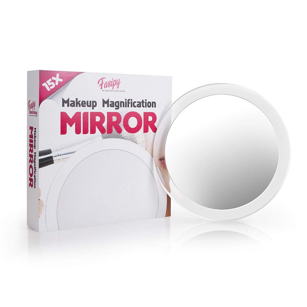 15x Magnifying Mirror Suction Cup  - Fasipy  6 inch Makeup Vanity Mirror, Tweezers Free - Used for Blackhead Removal