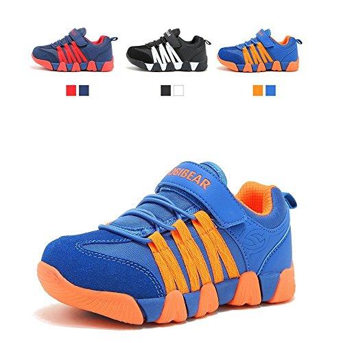 JIAWA Boys Sneakers Casual Strap Lightweight Running Shoes for Kids (Blue/Orange 9.5 M US Toddler) -