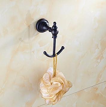 Gancho para toallas vintage FDLK,Baño de cobre vintage negro percheros,FDLK Vintage Antique Hat ropa de abrigo Toalla de baño Robe ganchos de pared colgador ...