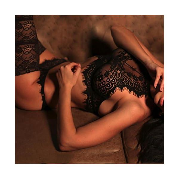 Wolfleague Sexy Lingerie Femmes sous-vêtements Dentelle Fleurs Nuisettes Push Up Top Soutien-Gorge String Un Pantalon…