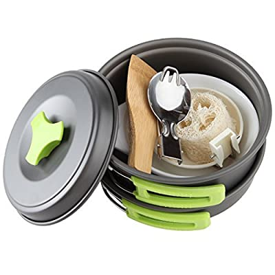 MalloMe Camping Cookware Mess Kit Backpacking Gear & Hiking Outdoors Bug Out Bag Cooking Equipment Cookset | Lightweight, Compact, Durable Pot Pan Bowls - Free Folding Spork, Nylon Bag, Ebook by MalloMe