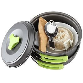 1 Liter Camping Cookware Mess Kit Backpacking Gear & Hiking Outdoors Bug Out Bag Cooking Equipment 10 Piece Cookset | Lightweight, Compact, & Durable Pot Pan Bowls – Free Folding Spork, Nylon Bag