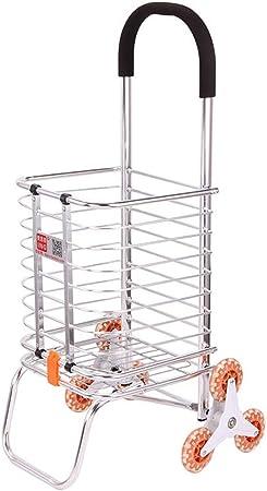 Carrito de la compra con ruedas de cristal, Suba las escaleras Carrito portátil de comestibles Viaje en el hogar Carrito de equipaje Carrito de equipaje: Amazon.es: Hogar