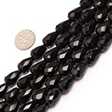 Olivary Faceted Gemstone AA Grade Black Agate Beads Strand 15 Inches Jewelry Making Beads