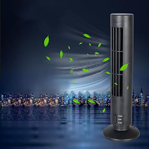 Fan New Mini Portable USB Cooling Air Conditioner Fan Purifier Tower Bladeless Desk Fan (Black, Overall Dimensions: 33cm x10.7cmx 10.7cm (LxWxH)) ()