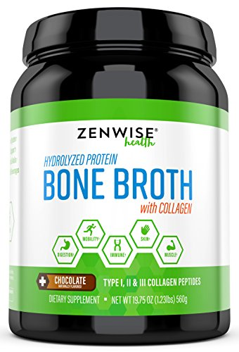 Hydrolyzed Bone Broth Protein Powder – Vital Type I, II & III Collagen Peptides from Bovine – Glucosamine, Chondroitin & Hyaluronic Acid – Joint, Skin, Immune & Muscle Health – 19.75 OZ For Sale