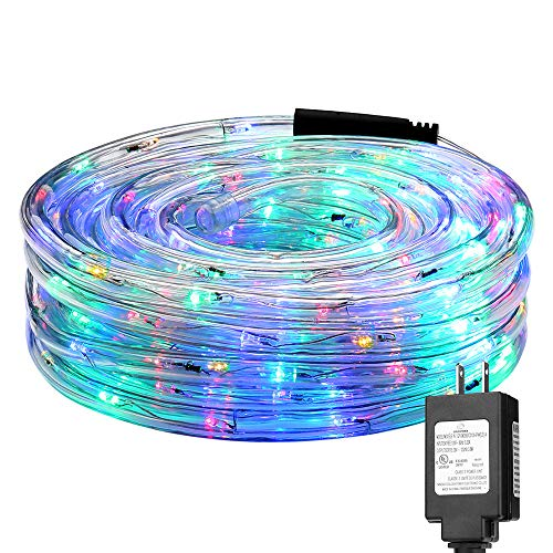 LE LED Rope Lights, 33 ft 240 LED, Low Voltage, Multi Colored, Waterproof, Connectable Clear Tube Indoor Outdoor Light Rope and String for Deck, Patio, Pool, Bedroom, Boat, Landscape Lighting and More -