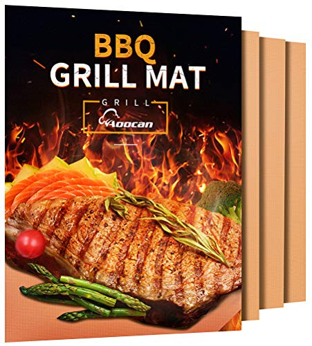 Aoocan Copper Grill Mat - Set of 3 Heavy Duty BBQ Grill Mats - Non Stick, BBQ Grill & Baking Mats - Reusable, Easy to Clean Barbecue Grilling Accessories - Extended Warranty (Best 3 Burner Gas Grill Reviews)