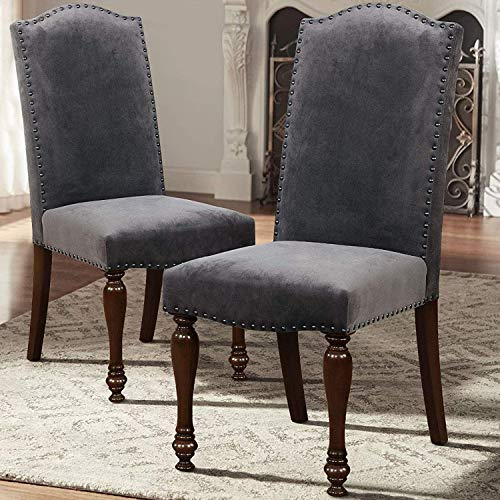 ARGOHOME Fabric Upholstered Dining Chairs Set of 2 – Classic Parsons Chair with Copper Nails and Solid Wood Legs, Dark Gray