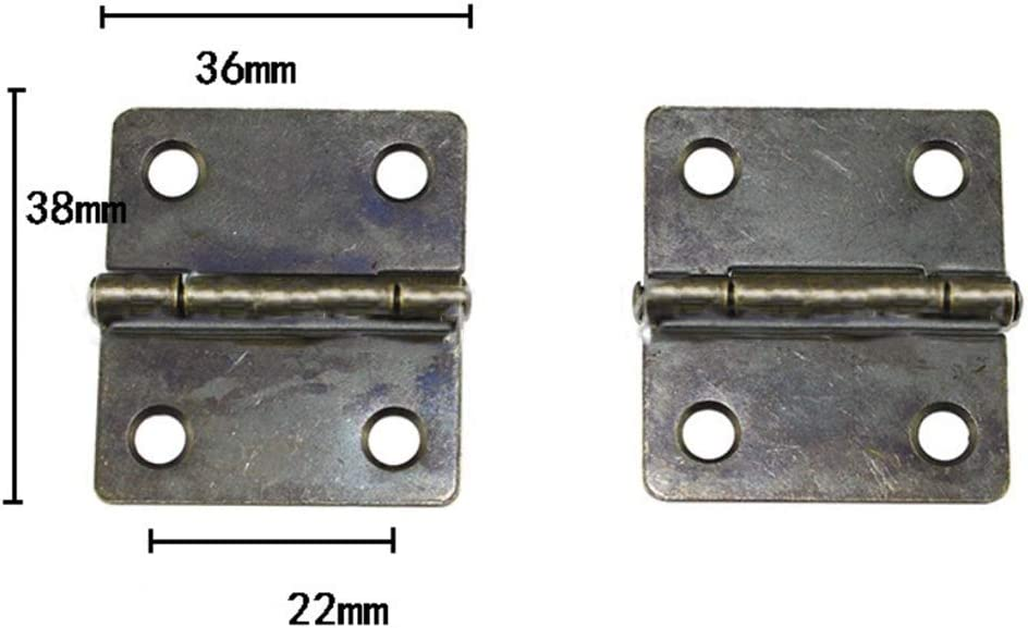 Open Length:36mm, Width:38mm 10 Pcs Folding Butt Hinges Antique Bronze Hinge Vintage Hardware with Screws for Doors Windows Cabinet Cupboard Wardrobe Wooden Boxes Jewelry Case Chest Small Size