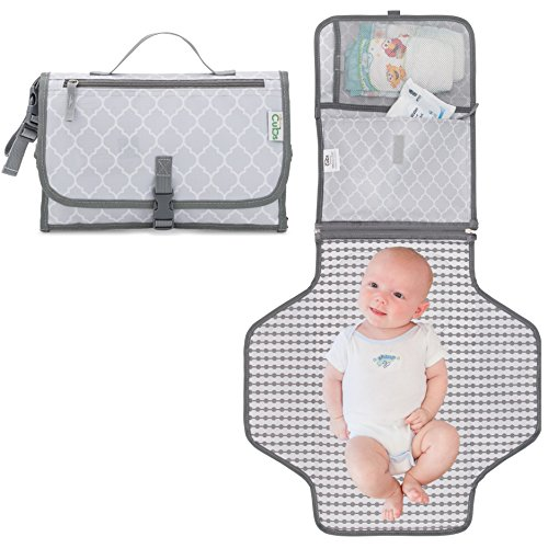 Travel Pad - Baby Changing Pad, Portable Diaper Changing Pad, Diaper Bag Mat, Foldable Travel Changing Station | Stroller Strap, Carry Handle, Pockets For Wipes | For Infants & Newborns, Grey By Comfy Cubs