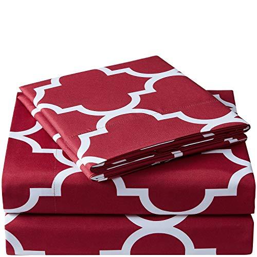 Mellanni Bed Sheet Set Twin-Burgundy - Brushed Microfiber Printed Bedding - Deep Pocket, Wrinkle, Fade, Stain Resistant - 3 Piece (Twin, Quatrefoil Burgundy - Red)