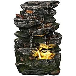 """Stone Wave Waterfall 14"""" Fountain w/LED Light: Small Indoor/Outdoor Water Feature for Tabletops, Gardens & Patios. Hand-crafted Design. HF-R27-14LT"""
