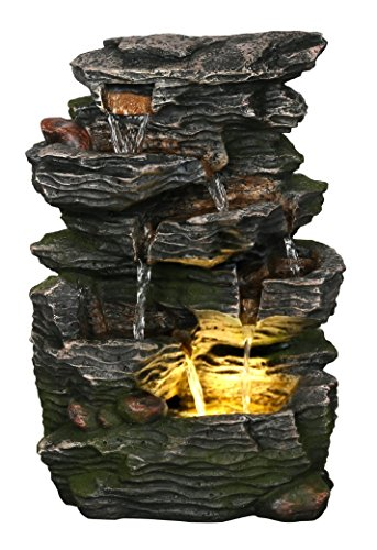Stone Wave Waterfall 14″ Fountain w/LED Light: Small Indoor/Outdoor Water Feature for Tabletops, Gardens & Patios. Hand-crafted Design. HF-R27-14LT