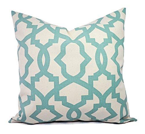 Blue and Cream Throw Pillow Cover in Custom Sizes - Trellis Decorative Pillow Sham - Spa Blue Pillow Cover - Lumbar Pillow Euro Sham