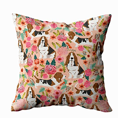 Shorping Zippered Pillow Covers Pillowcases 18X18 Inch basset hound florals dog pillow cute dog design Decorative Throw Pillow Cover,Pillow Cases Cushion Cover for Home Sofa Bedding