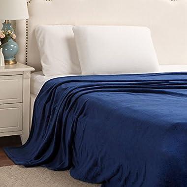 Flannel Fleece Blanket Navy Queen Size Lightweight Cozy Plush Microfiber Solid Blanket by Bedsure