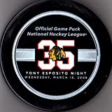 3-19-2008 Tony Esposito Night Chicago Blackhawks NHL Hockey Official Game Puck