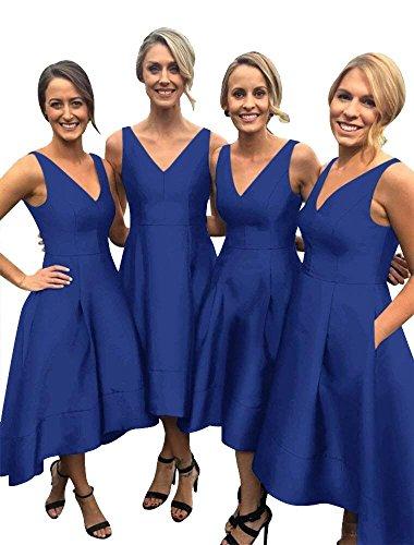 Prom Blue Dress Women's Bridesmaid V Sleeveless Satin Low High Royal Neck DMDRS Short v7xznUOz
