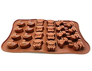 YOFAN Silicone Chocolate, Jelly and Candy Mold, Non-toxic , 24 Funny Animal Shapes , Non-stick, Bpa-free Food Grade Mold with Heat Resistant Microwave & Dishwasher Safe Ice Cube Tray