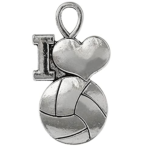 SUNYIK 25pcs Tibetan Silver Tone I Love Volleyball Heart Charms Findings - Heart Charm Jewelry Finding