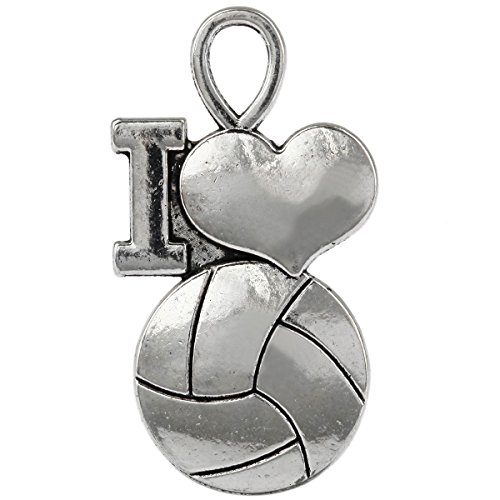 (SUNYIK 25pcs Tibetan Silver Tone I Love Volleyball Heart Charms Findings)