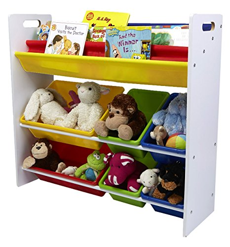 Mind Reader Toy Storage Organizer with 6 Storage Bins and Bookshelf, Kids Storage for Bedroom