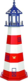 product image for DutchCrafters Decorative Lighthouse - Wood, Assateague Style (Red/White/Blue (Patriotic), 5)