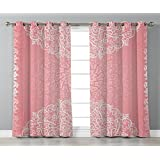 Satin Grommet Window Curtains,Light Pink,Doily Inspired Cute Lace Style Round Motifs with Ornate Intricate Hearts Decorative,Coral White,2 Panel Set Window Drapes,for Living Room Bedroom Kitchen Cafe