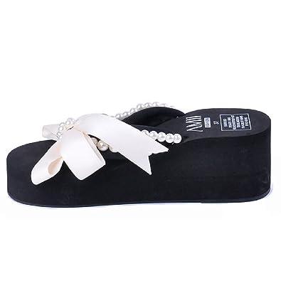 4e98e211e Btrada Women s Wedges Flip-Flops Summer Non-Slip Beach Sandals Clip Toe  Bowknot Platforms