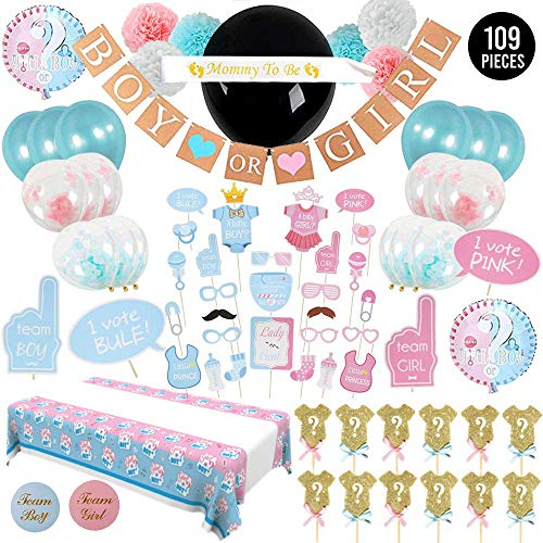 109 Piece Baby Gender Reveal Party Supplies with Photo Props, 36 Inch Reveal Balloon and Sash - Premium Baby Shower Decorations Set - Confetti Balloons, Boy or Girl Banner, Table Cover and Hanging Poms]()